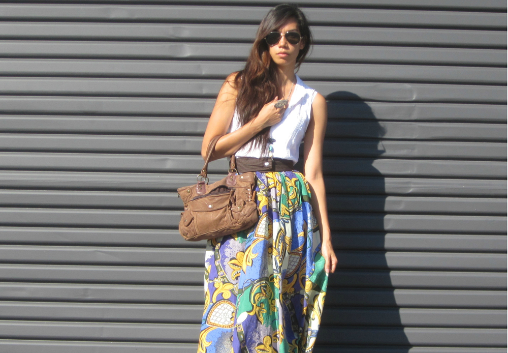 Complete Thrifted outfit from head to toe white Mango top, leather bag and silk maxi skirt all from op-shops.
