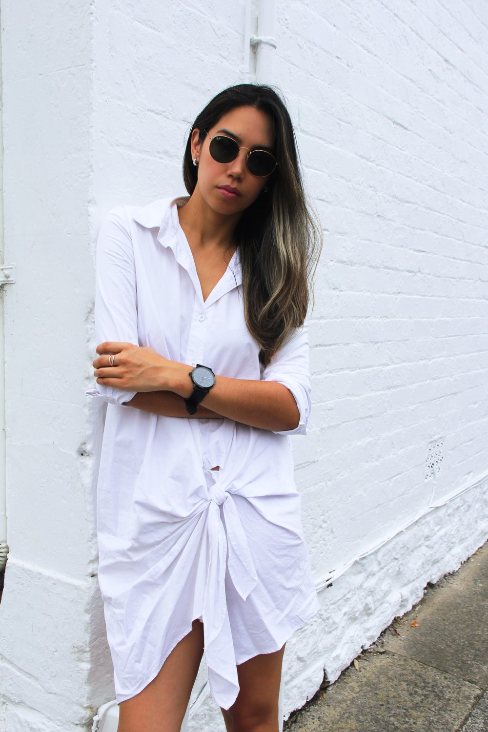 Outfit: Shirt Dress - Maurice and Eve, Shoes - Valentino sneakers, Sunglasses - Rayban, Watch - Uncle Jack lack on Black leather watch.