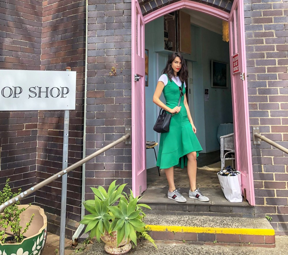 Pictured here at Wayside Op Shop Sydney at a recent Op shopping trip with my girl Marieke. Found so many treasures. Wearing Hugo Boss Dress dressed down with a simple white t shirt and sneakers available for hire @ekoluv
