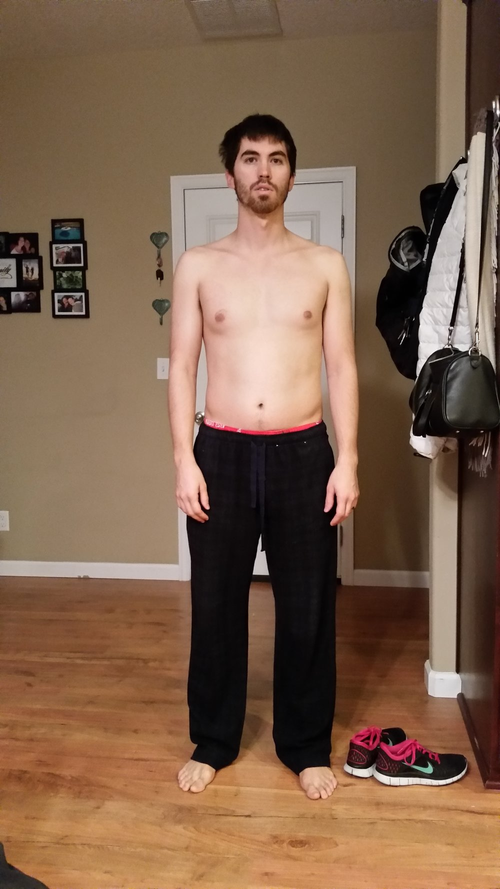 Circa November, 2014. 165 pounds and slowly gaining. Felt awful, low energy, high stress and about 18 percent body fat. Very little muscle tone and far less strength than today.