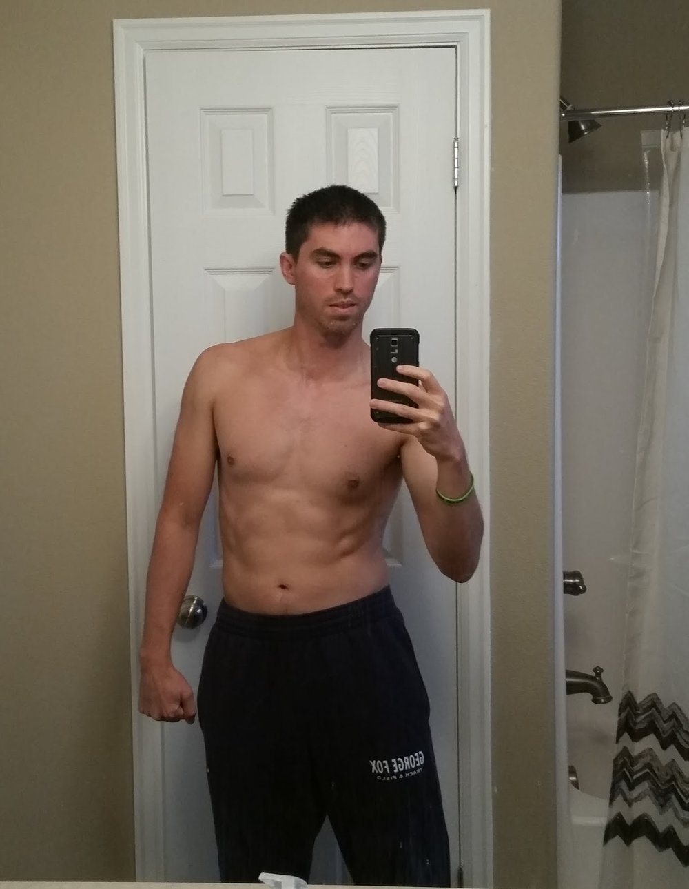 155 pounds, 9% body fat. That is 141.05 lbs of lean tissue. 7 pounds less weight, 9 pounds more muscle.