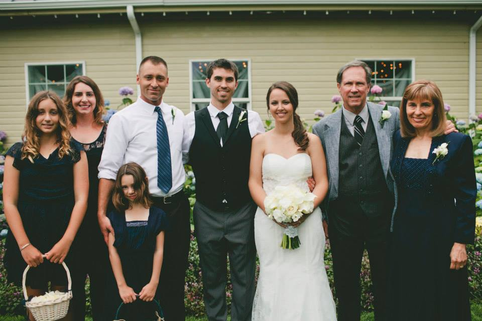 From left to right, my oldest niece, sister in law, youngest niece, older brother, me, Megan, my dad and my mom on our wedding day. I want these guys around for as long as I can get. And I want to be there for our new family coming up!
