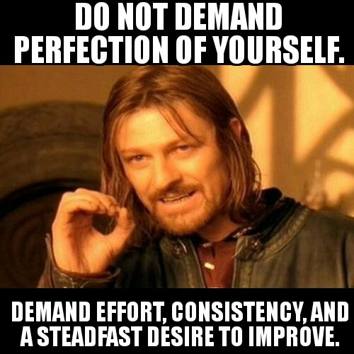 Do not demand perfection of yourself. Demand effort, consistency, and a steadfast desire to improve.