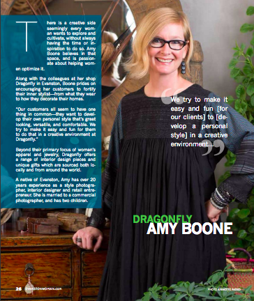 amy boone was featured in the december 2016 issue of  evanston woman magazine .
