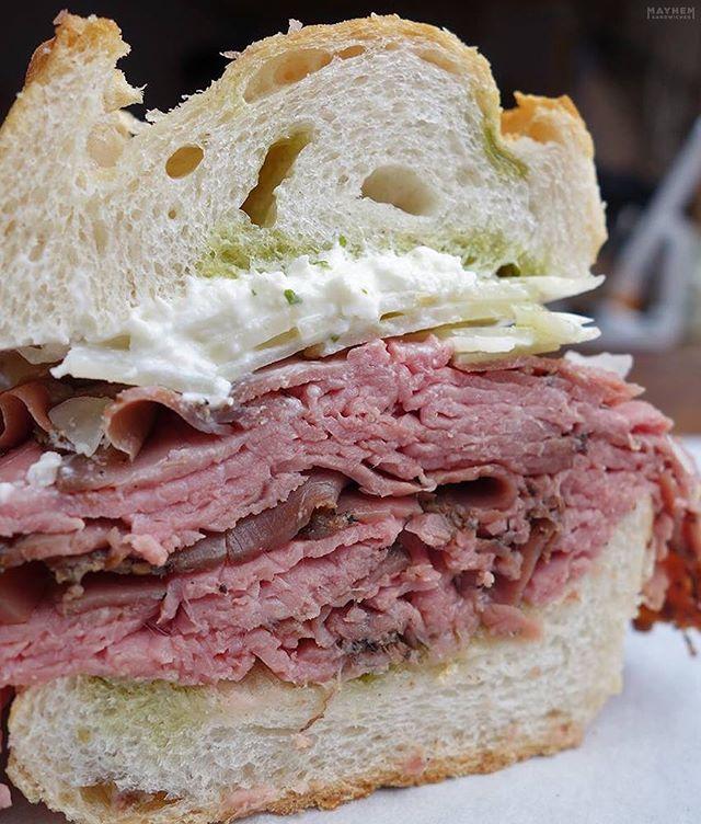 Roast beef HEAVEN 😍 . [The Roastie: 48 hour roast beef, burrata, arugula, basil, olive oil @UrbanspaceNYC Vanderbilt]