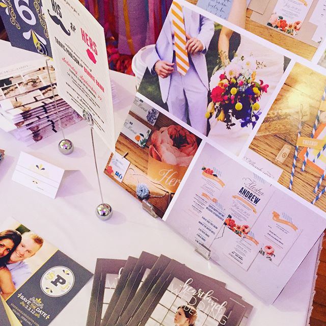 Today we're at the @desmoinesweddingshow! Stop out to see all our stationery samples and chat!