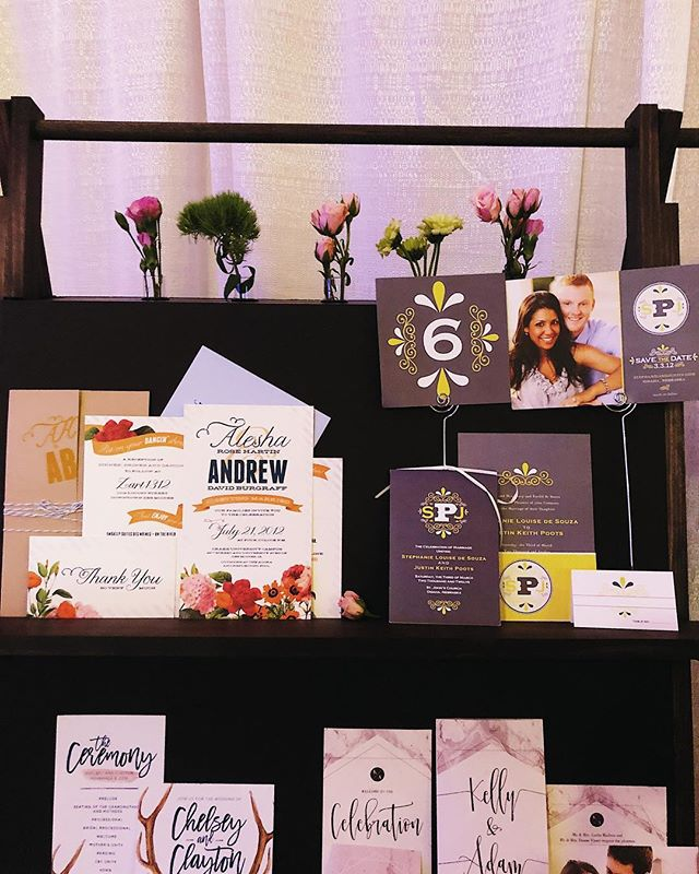 We enjoyed meeting all the newly engaged couples @desmoinesweddingshow today and can't wait to creat some new custom invites in 2019! . . . #weddingshows #stationary #weddinginvites #invites