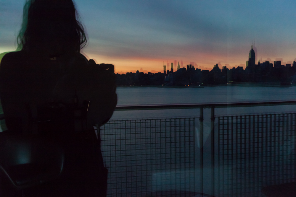 My reflection against NYC's skyline