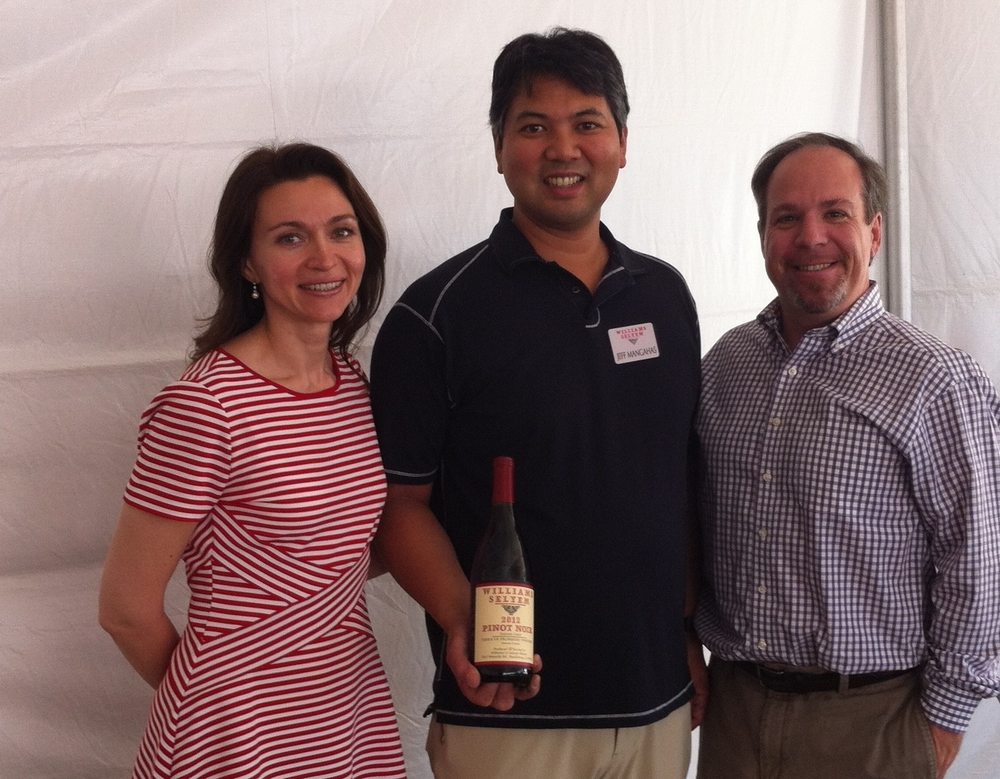 Pictured is: Diana, winemaker Jeff Mangahas and Charles