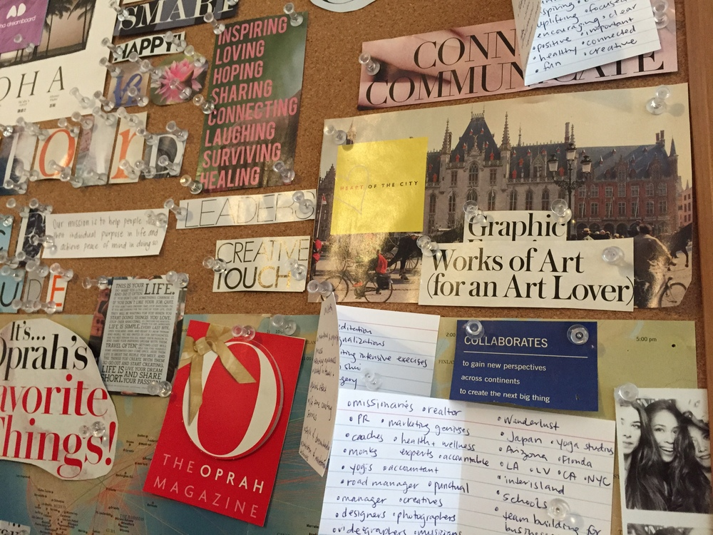 "The photo above is a close up and portion of our company dreamboard. Notice ""Wanderlust"" written on the bottom right hand corner. This was added over the summer of this year 2015."
