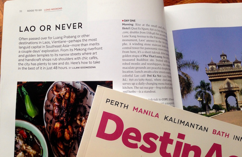 My travel article on Vientiane, Laos was published in the Apr-May 2016 issue of DestinAsian