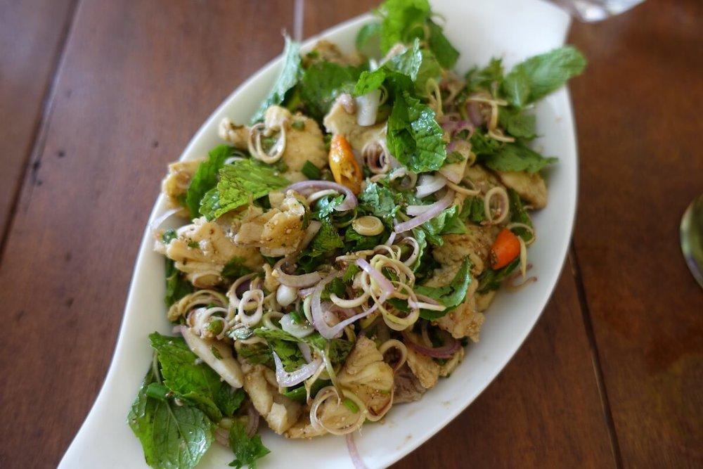 Fish  laab  with herbs at  Doi Ka Noi restaurant , Vientiane, Laos © Lilani Goonesena 2017