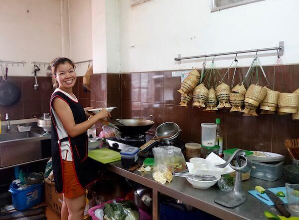Chef and owner Noi in the kitchen at  Doi Ka Noi restaurant , Vientiane, Laos © Lilani Goonesena 2017