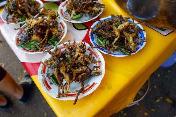 Deep fried frogs at  Ban Ahou night market ,Vientiane, Laos © Lilani Goonesena 2017