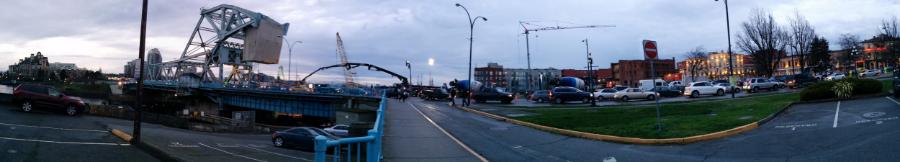 Panoramic view Johnson Street by the bridge.