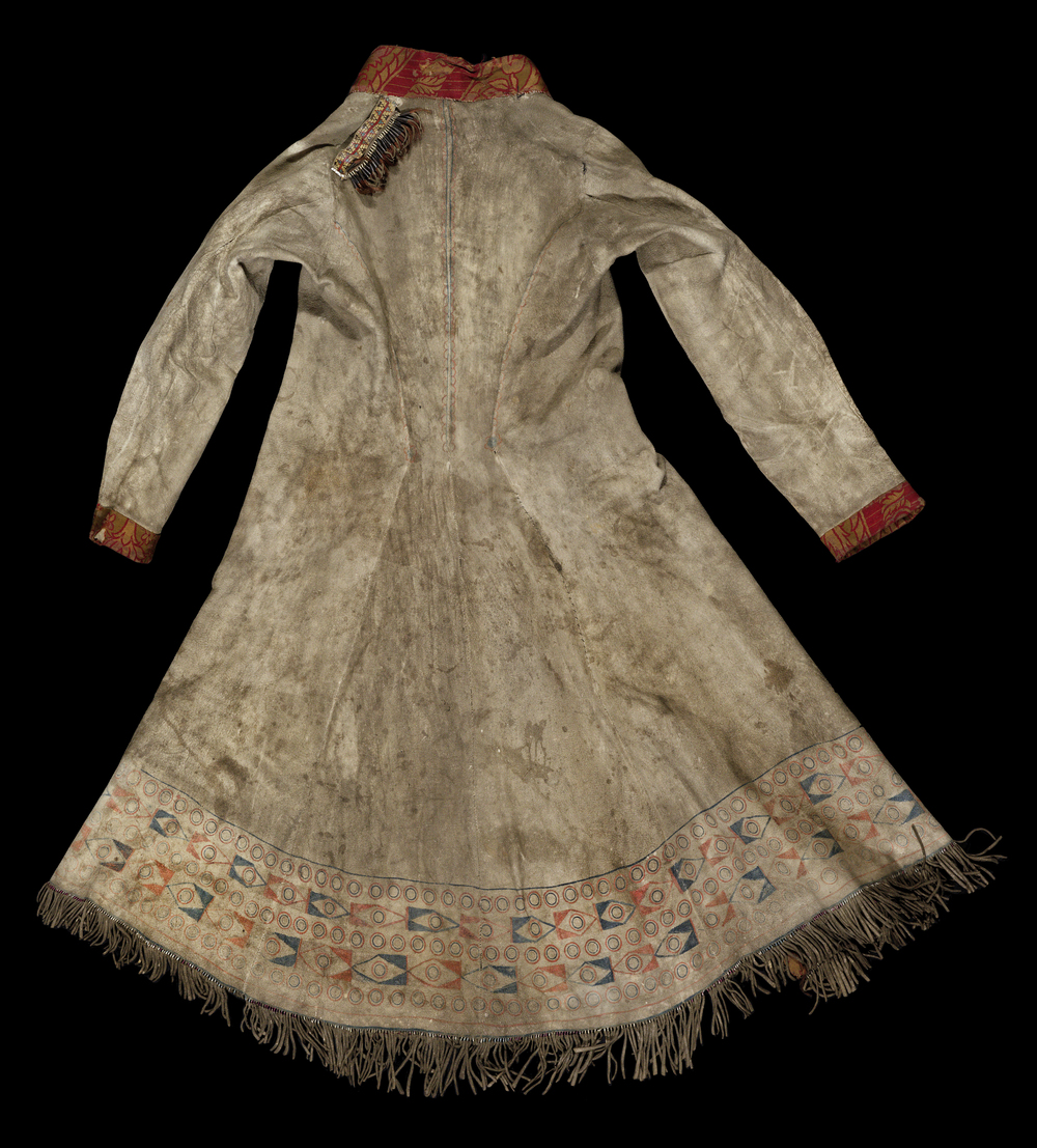 Back of the Pitt Rivers Museum Long Hide Coat,  1906.83.1 . Photograph provided by the Pitt Rivers Museum.