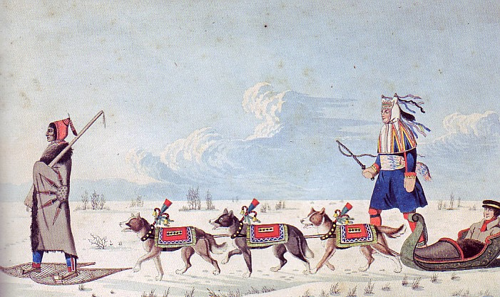 Peter Rindisbacher, A Dog Cariole only used in winter by Canadian Indians, 1825. Watercolour. Part of the Thomson Collection at the Art Gallery of Ontario.
