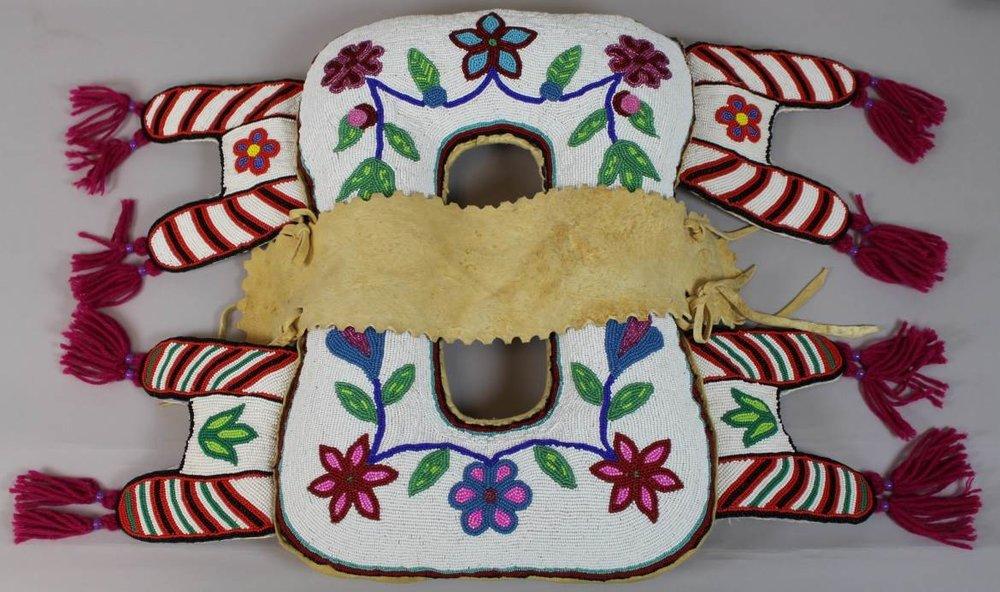 Pad saddle, Janette Netowayseeson, ca. 1997. Royal Alberta Museum.