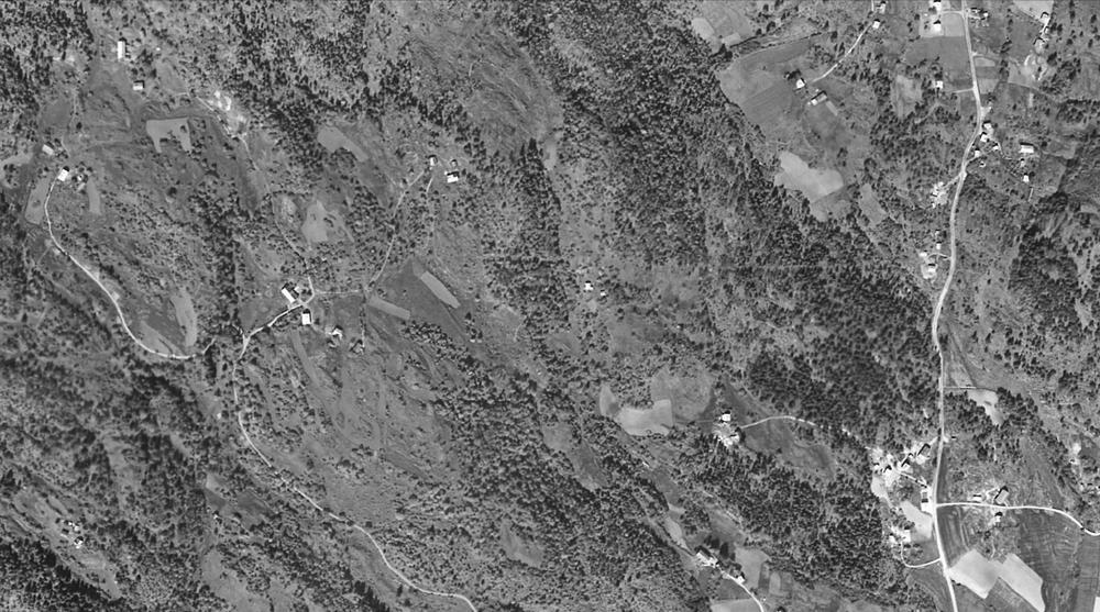 Flyfoto fra 1957 - En ser Lia ca midt i bildet.