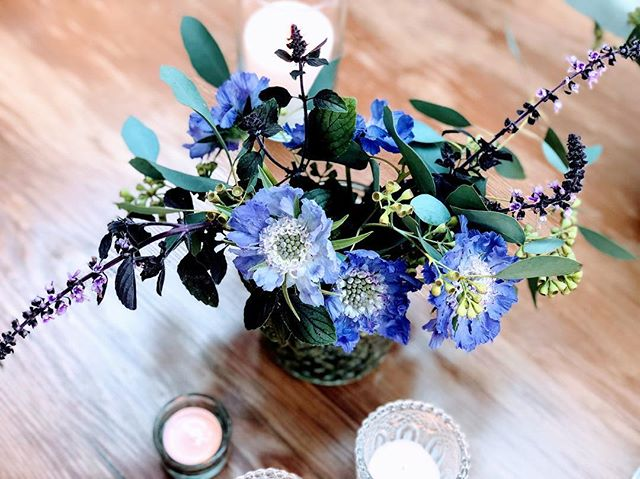 butterfly blue scabiosa + dark opal basil for the most beautiful... and chill bride @kelseytaylorweir ❤️ #reveriebyrivera