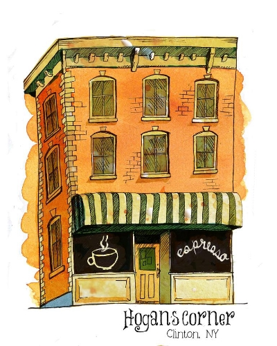 Hogan's Corner, Clinton, NY. The current home to Cafe J. Digital mixed media with watercolor and ink.