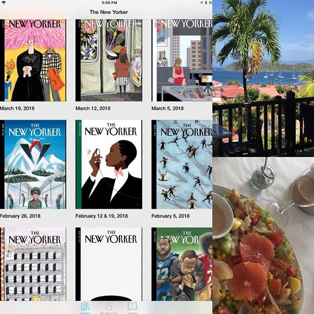 Catching up on @newyorkermag in @guadeloupeislands almost over by lots of good reads and rose