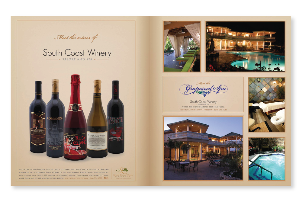 This 2 page ad was meant to showcase the chosen wine bottles of that month as well as the Spa at South Coast Winery Resort.