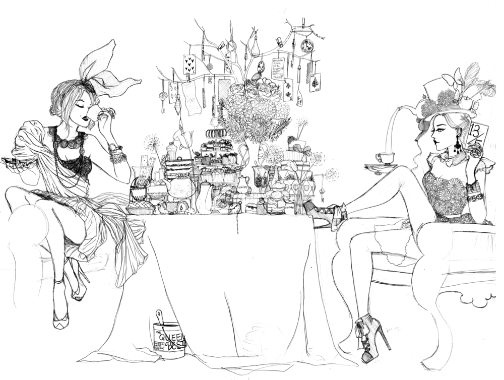 Wonderland Tea Party   Pencil on paper   12.5 in x 24.3 in