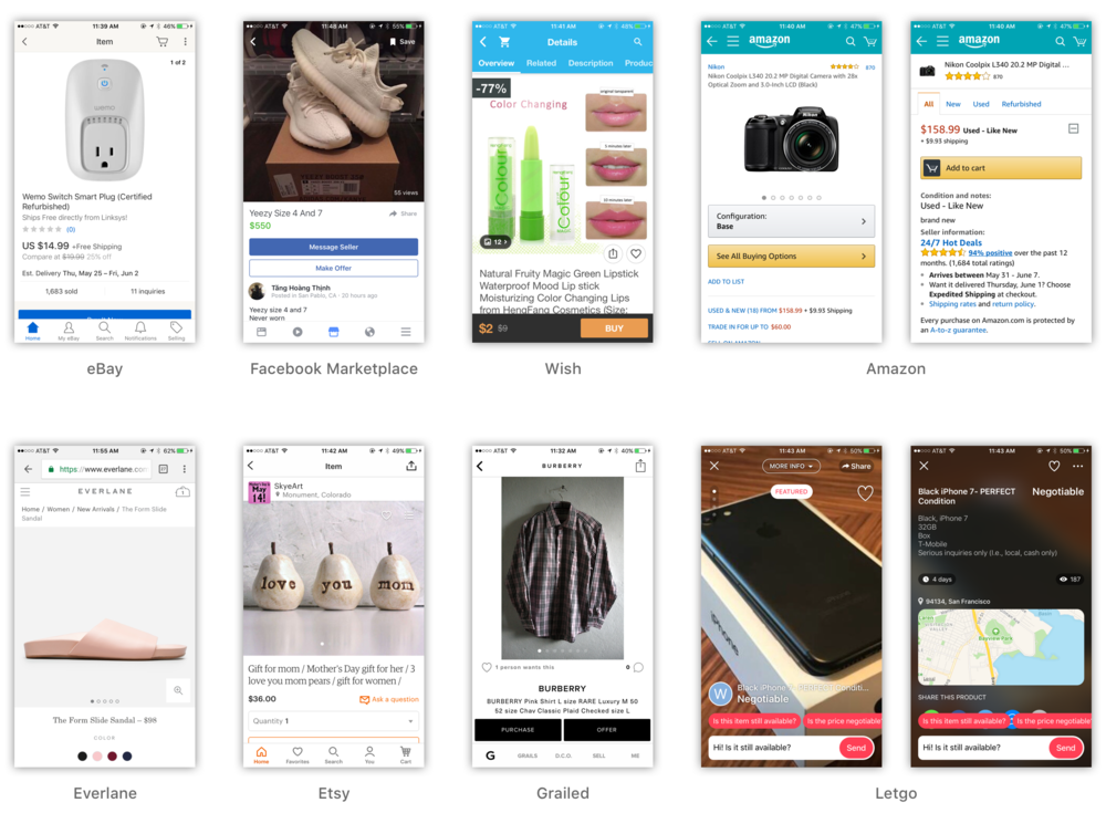 I surveyed the design of apps and mobile sites for eBay, Etsy, Grailed, Taobao, Amazon, Wish, Madewell, Everlane, and Facebook Marketplace. Competitor designs tended to feature prominent product photo modules, clear CTAs, and sharing functions. Competitors also roughly divided into information-laden designs and designs that provided minimal, essential details.