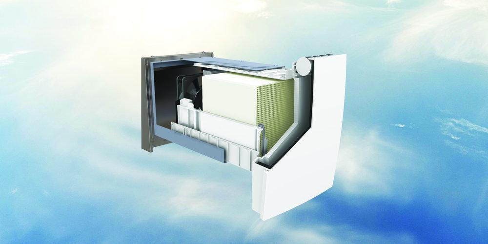 WRG Plus - Lokalna prezračevalna naprava z rekuperacijo toplote in izboljšano zvočno izolacijo.Primeren je predvsem za namestitev v novogradnje. Krmiljenje je na sami napravi, potrebno je samo napajanje.