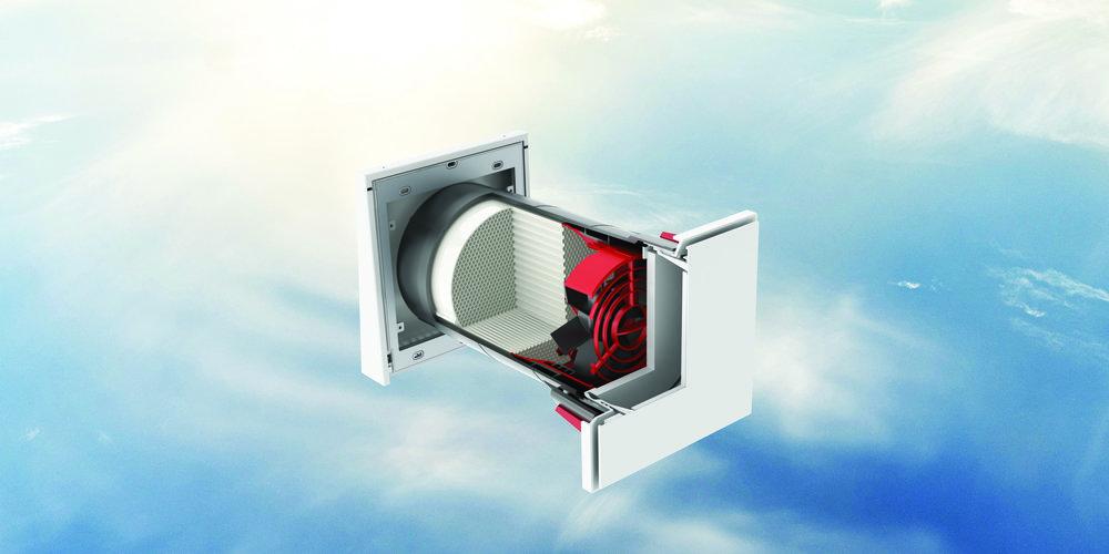 WRG RONDO IQ - Lokalna prezračevalna naprava z rekuperacijo toplote in izboljšano zvočno izolacijo.Primeren tako za sanacijo in namestitev v novogradnje. Krmiljenje je centralno, potrebno je ožičenje.