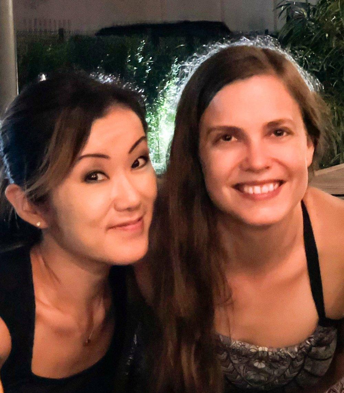 Jessica and Kaori in Kinshasa.