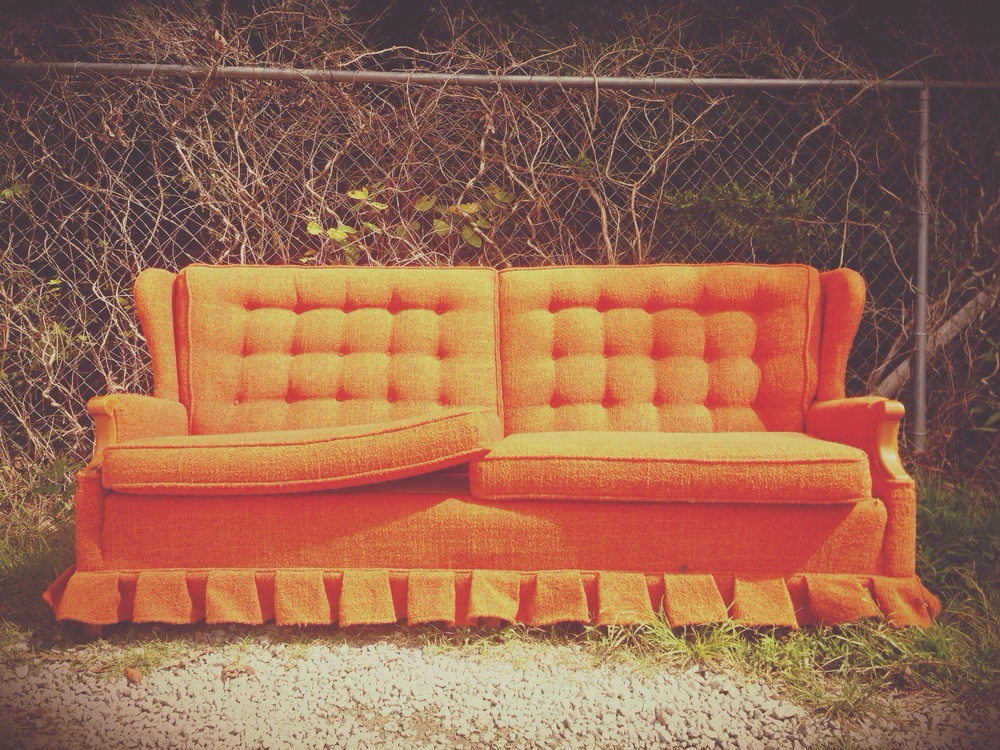Orange Sofa, sitting at the dump.