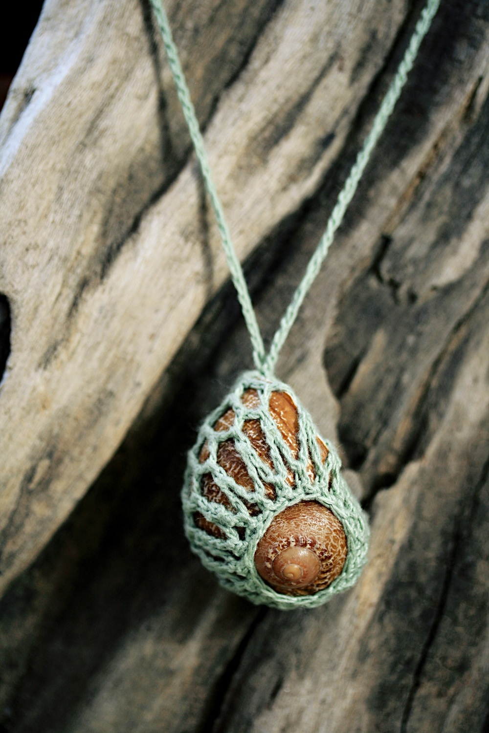 Crochet Necklace with Escargot Shell and Bamboo Thread, 2014.