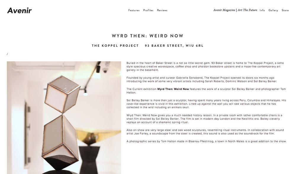Wyrd Then: Weird Now sculptor Sol Bailey Barker