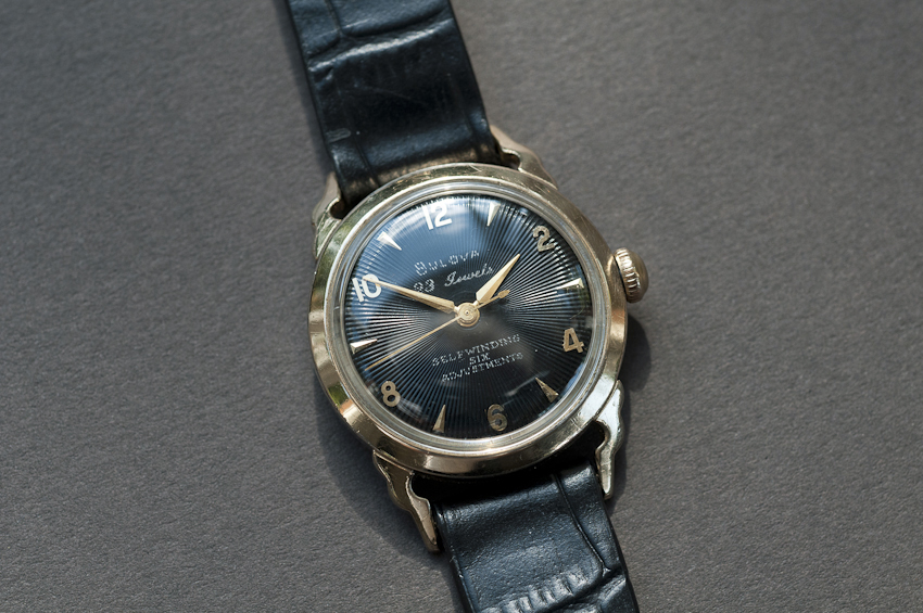 Bulova 23, Black Dial with Cow Horn Lugs