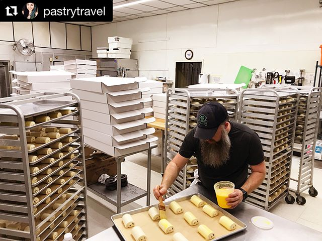 #Repost @pastrytravel ・・・ 36 hours and 3,000 pastries later... pictured is only a FRACTION of the enormous order Pablo and I just worked through. What an awesome (and exhausting) adventure it was!  Just a bit of back story... I moved to Winston-Salem in 2013. It was my first move on my own and I was excited. I had a new job and was sharing an apartment with a friend. In 2014, I met Pablo. He hired me as a front-of-house person/barista. He had just acquired keys to a space downtown and was working to develop what is now Atelier Bakery. He opened on July 1st, 2014....I got hired July 9th. I quickly learned that Pablo was unlike any one I had ever met. He worked hard and knew a ton (from his training in Paris to his time in NYC with JG). Pablo was always doing something new, different, and exciting. Everything he did he did with passion and precision. Detail was everything. He taught me how to have integrity. He taught me to show up early, work hard, and always pay attention. He taught me how to make a great espresso drink and how important customers are. At some point he gave me a task in the kitchen. And then another and another. Then one day I was showing up at 2am to help him bake croissants. I fell in love with electronic dance music (which Pablo blares while working throughout the night). I fell in love with the entire process. I realized pastry could be sexy. I became a morning person and an early to bed person. I found something I liked that I could do well. He truly helped me find my purpose. The time I spent in his bakery helped to shape who I am. Thanks to him, I am a better person. Without his constant push for me to be better and do better, I wouldn't be where I am or who I am today. Thanks to his incredible character and his tremendous talent, I got the amazing opportunity to work for @baker.x at @supermoonbakehouse . A little over a week ago I moved to NYC after being at Atelier for 4 yrs, being in W-S for 5 yrs, and living in NC for 24 yrs. So many changes that my head is spinning. I am so excited for what is to come. I am leaving the family I have gained at Atelier but I will never forget them or my time spent there. Thank you for everything!