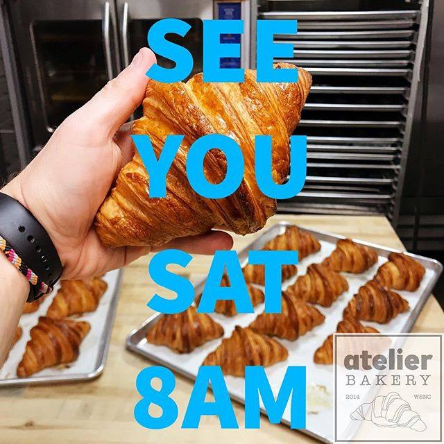 SEE YOU SAT 8AM . 🥐 🍰 🥖 🥧 🍒 . .  Atelier Bakery open at 8am on Saturdays ... only (closed every other day ... for the month of May) . . #nothinglikeit #dontmissout #pastrymagic #curveball #france #paris #cruffin #bestintown #traditional #theatre #best #croissant #onlyatatelier #wsnc #winstagram #dailyphoto #winstonsalem #myws #downtown #downtownwinston #foodie #shoplocal #sweet #delicious #desserts #love #beautiful #food #yummy #photooftheday