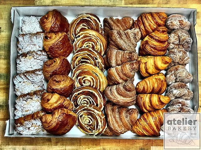 Classic Catering Collection 🥐😍 . . (left to right) * Twice Baked Almond * Pain au Chocolat * Beehive * French Churro * Traditional Croissant * Kouign Amann . .  Atelier Bakery 8am until 2pm Tuesday through Sunday (always closed on Mondays) . . #catering #classiccollection #pastrybuffet #tableforone #france #paris #cruffin #bestintown #traditional #theatre #best #croissant #onlyatatelier #wsnc #winstagram #dailyphoto #winstonsalem #myws #downtown #downtownwinston #foodie #shoplocal #sweet #delicious #desserts #love #beautiful #food #yummy #photooftheday