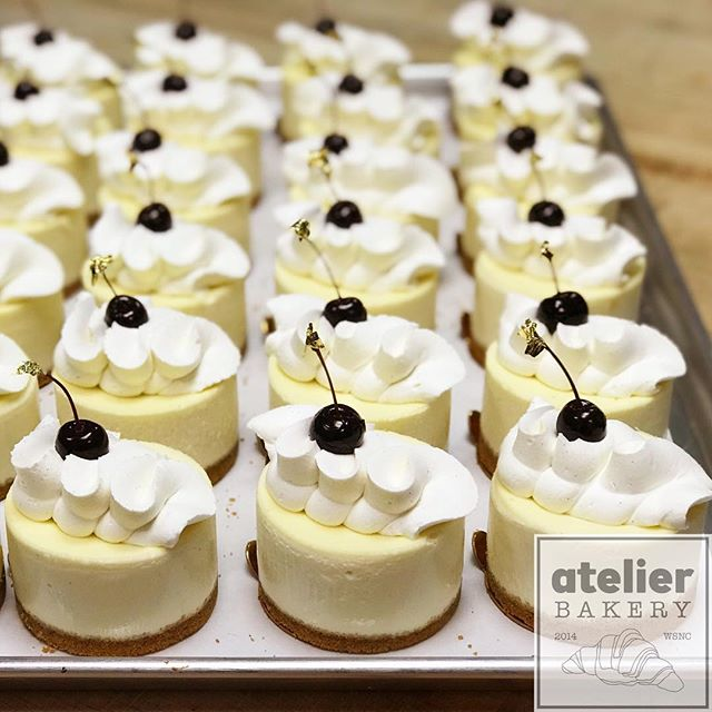 "Vanilla Bean Cheesecake 🍒 (absolutely decadent ... in the case ... open until 2pm) . . ""The most difficult thing is the decision to act, the rest is merely tenacity."" . . - Amelia Earhart . .  Atelier Bakery 8am until 2pm Tuesday through Sunday (always closed on Mondays) . . #happyhumpday #cheesecake #whynot #treatyoself #france #paris #cruffin #bestintown #traditional #vanillabean #best #croissant #onlyatatelier #wsnc #winstagram #dailyphoto #winstonsalem #myws #downtown #downtownwinston #foodie #shoplocal #sweet #delicious #desserts #love #beautiful #food #yummy #photooftheday"