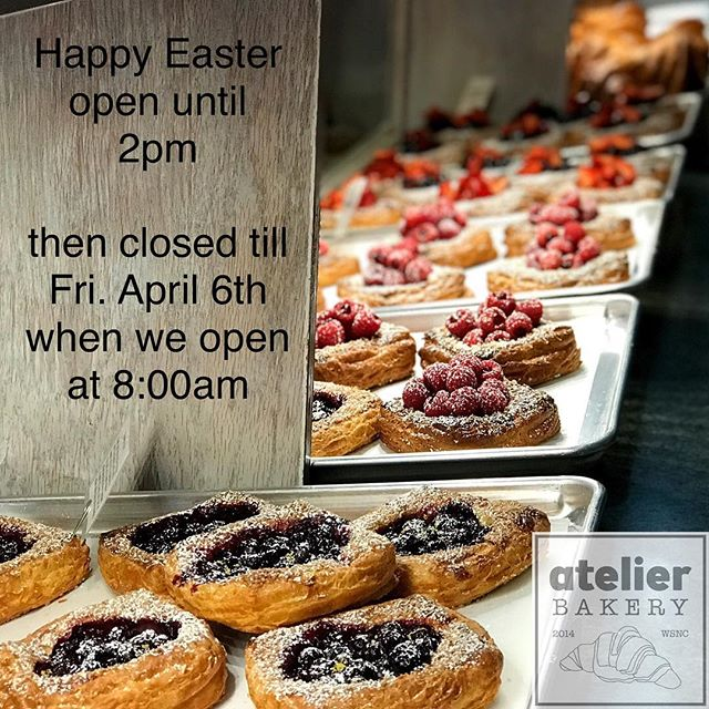 Happy Easter 🐣🐇 . . We are open until 2pm today ... then closed till Fri. April 6th when we open at 8:00am 😌 . .  Atelier Bakery 8am until 2pm Tuesday through Sunday (always closed on Mondays) . . #happyeaster #easterbunny #familyvacation #familyfirst #france #paris #cruffin #bestintown #traditional #darkchocolate #best #croissant #onlyatatelier #wsnc #winstagram #dailyphoto #winstonsalem #myws #downtown #downtownwinston #foodie #shoplocal #sweet #delicious #desserts #love #beautiful #food #yummy #photooftheday