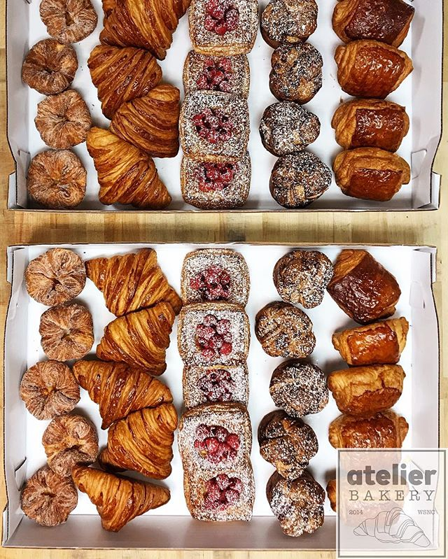 "Pastry Lovers Rejoice . . ""I arise in the morning torn between a desire to improve the world and a desire to enjoy the world. This makes it hard to plan the day."" . - E. B. White . . . . . . . . . . . . . . . . Atelier Bakery open at 8am on Saturdays until we sell out . . #pastryassortment #amazingvariety #enjoyyourday #unique #morningmeeting #wearethankful #happiness #bestintown #traditional #freshfruit #best #croissant #onlyatatelier #wsnc #winstagram #dailyphoto #winstonsalem #myws #downtown #downtownwinston #foodie #shoplocal #sweet #delicious #desserts #love #beautiful #food #yummy #photooftheday"