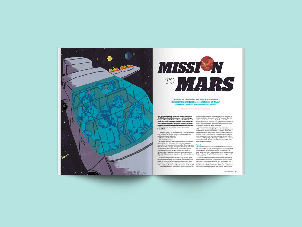 September 2016 –  Mission to Mars .  Illustrations by  Daniel Fishel .