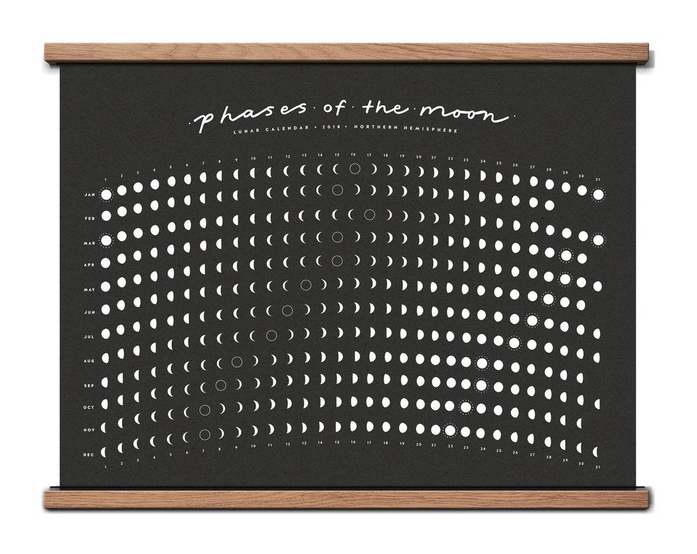 2018 Lunar Calendar / Moon Phase Calendar Screen Printed Poster