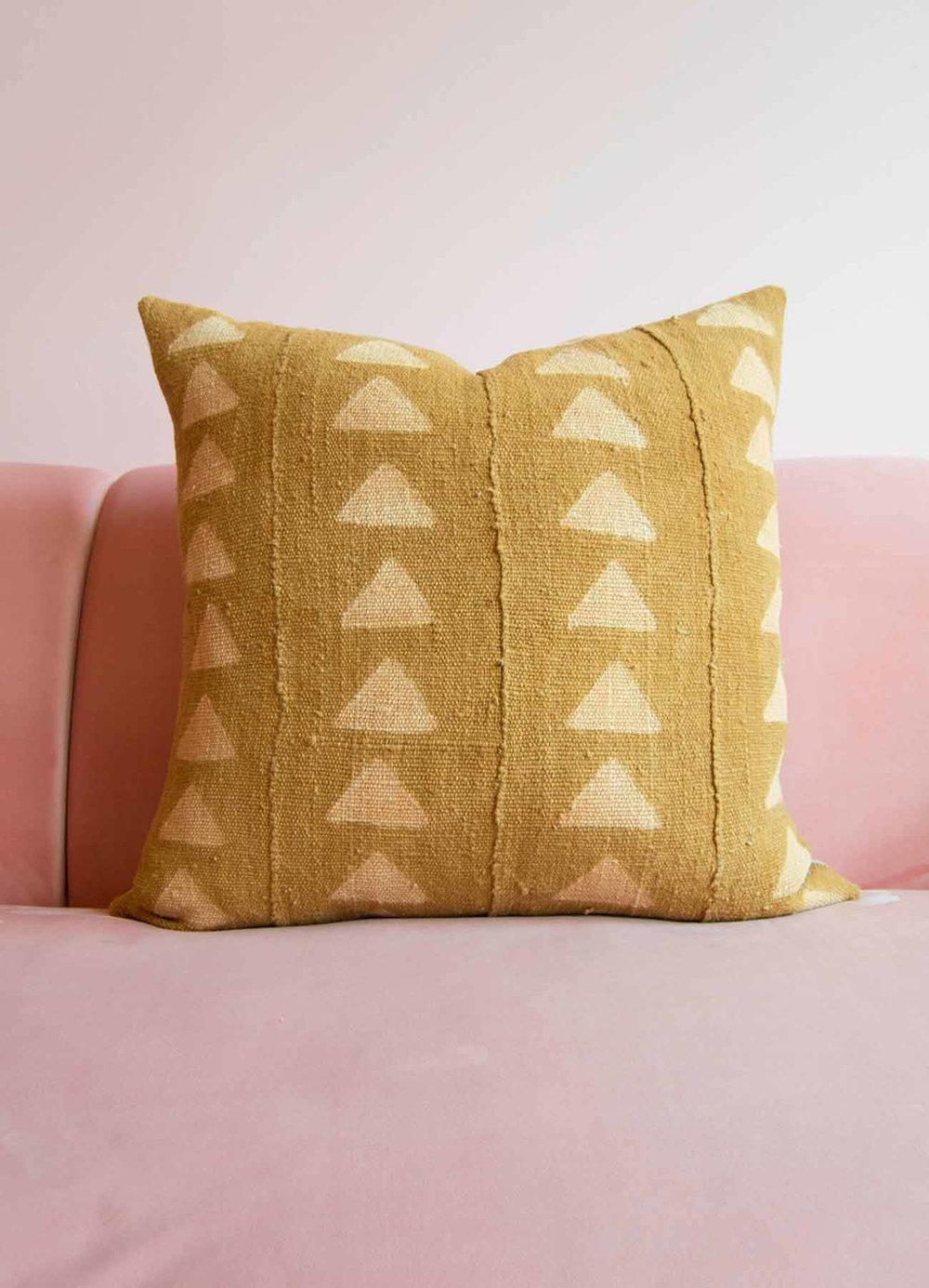 Gold Mudcloth Pillow