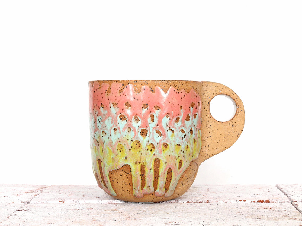 Rose and Chartreuse Ceramic Mug