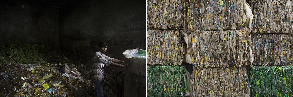 A man stands inside a community dust bin where he leaves the organic waste after picking it up from the houses in Jangpura, a residential area in New Delhi, India, on July 9, 2015. He keeps the valuable items (such as paper, plastics, glass, etc...) and, carrying in his cart, will take it to the nearest juck dealer who will pay him 10-15 ruppies ($0.15-$0.22) per kg. It is estimated that Delhi alone produces 7.000 tones of solid waste per day and that between 80.000 to 100.000 ragpikers earn a life by picking up the waste from houses, offices, or even the streets, segregating it in a basic way and selling it to a dealer.