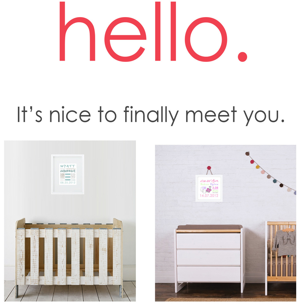 Modern nursery decor, customized and personalized, celebrating the day life changed forever.