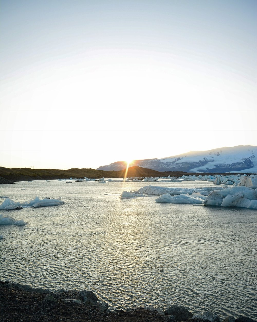 Sunset at Jokulsarlon Lagoon, Iceland