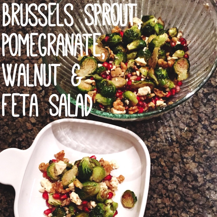 Brussels Sprout, Pomegranate, Walnut, and Feta Salad | YES! Nutrition, LLC